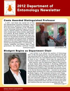 Department of Entomology Newsletter 2012