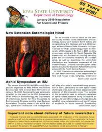 Department of Entomology Newsletter 2010