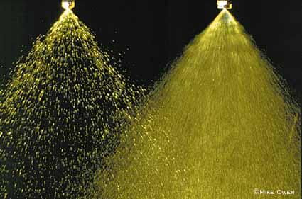 Herbicide spray nozzles