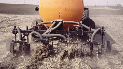 Liquid manure application to soybean residue