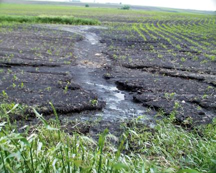 Erosion on conventionally tilled field