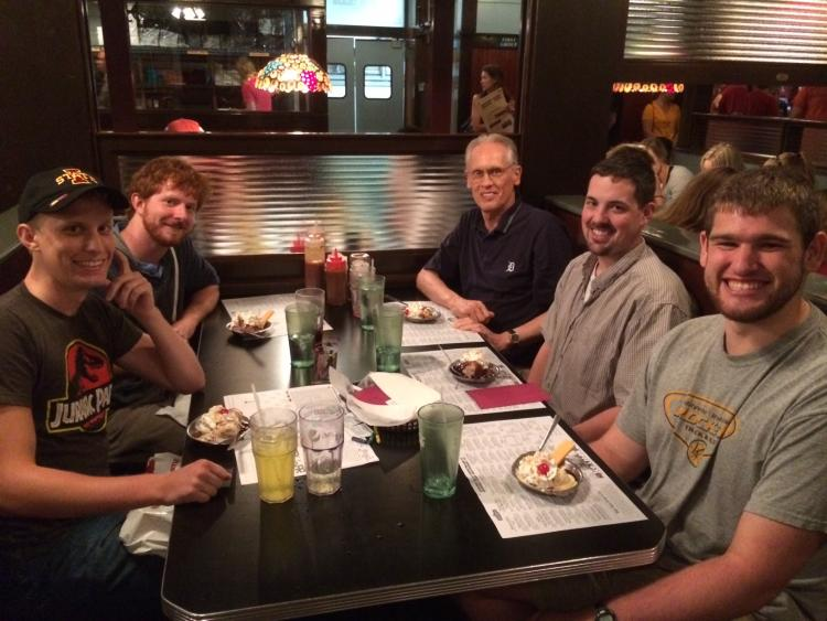 Photograph of the members of the Pesticide Toxicology Lab having lunch to celebrate Sam Howard's last day in the lab.