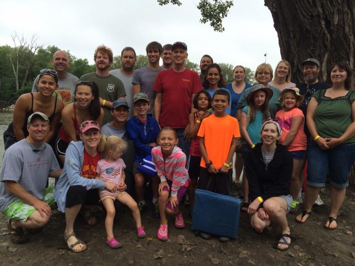Photograph of current and former Coats' lab members before the float trip down the Des Moines River